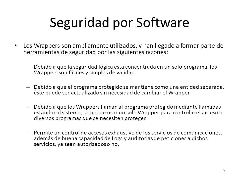 Seguridad por Software Los Wrappers son ampliamente utilizados, y han llegado a formar parte de herramientas de seguridad por las siguientes razones: