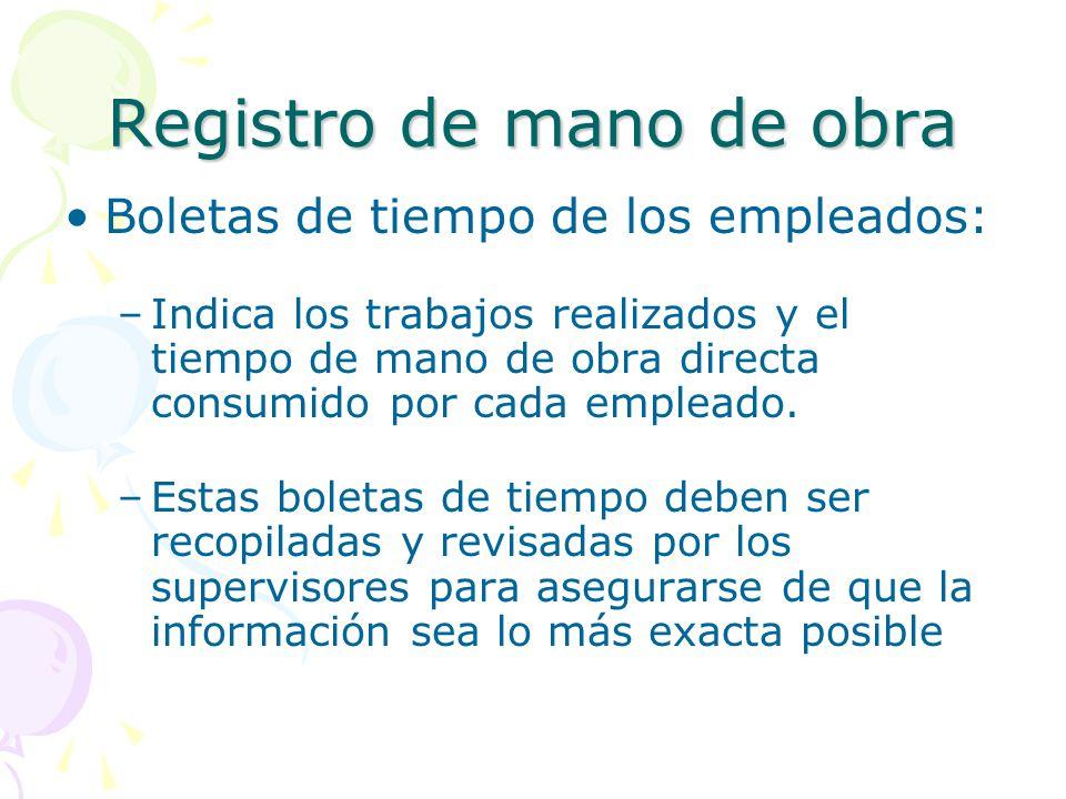 Registro de mano de obra Boletas de tiempo de los empleados: –Indica los trabajos realizados y el tiempo de mano de obra directa consumido por cada empleado.