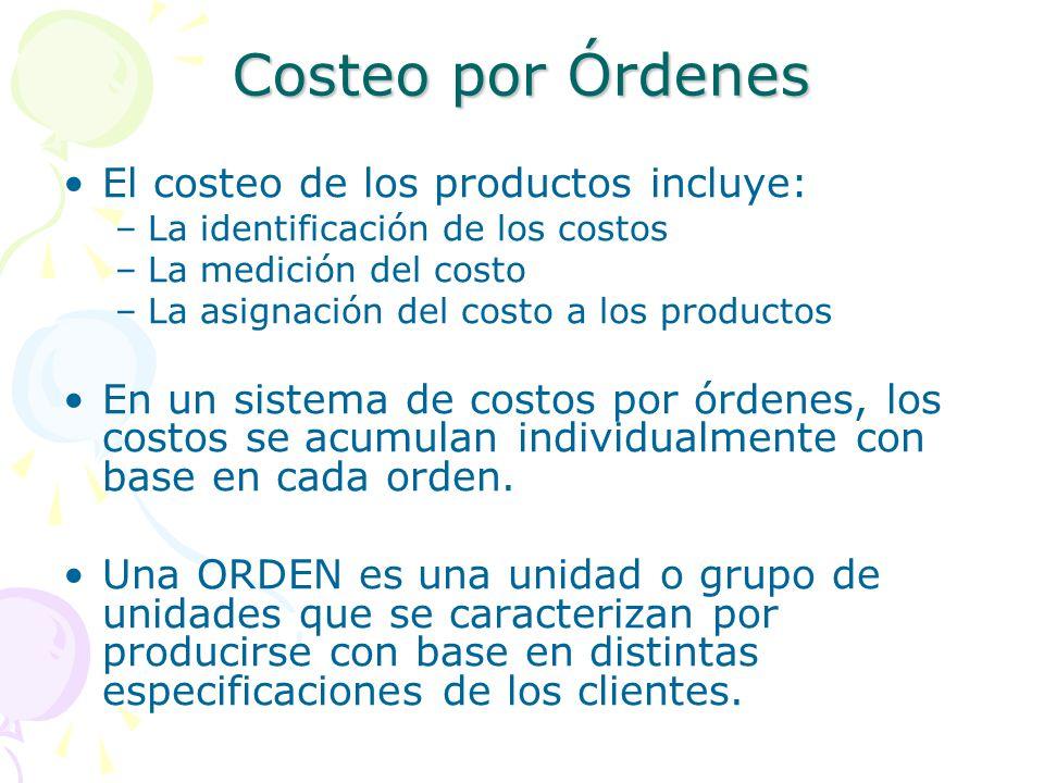 Costeo por Órdenes El costeo de los productos incluye: –La identificación de los costos –La medición del costo –La asignación del costo a los productos En un sistema de costos por órdenes, los costos se acumulan individualmente con base en cada orden.