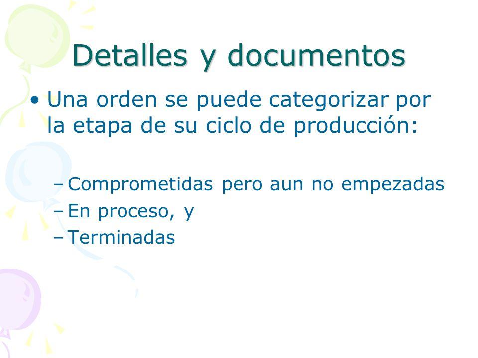 Detalles y documentos Una orden se puede categorizar por la etapa de su ciclo de producción: –Comprometidas pero aun no empezadas –En proceso, y –Terminadas