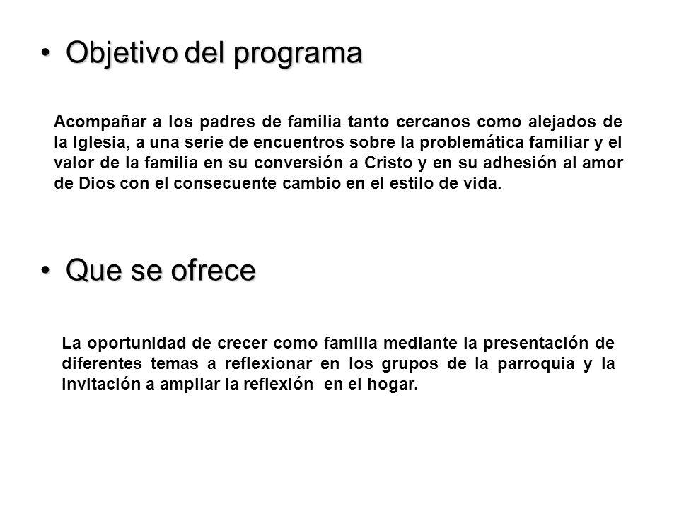 Objetivo del programaObjetivo del programa Que se ofreceQue se ofrece Acompañar a los padres de familia tanto cercanos como alejados de la Iglesia, a