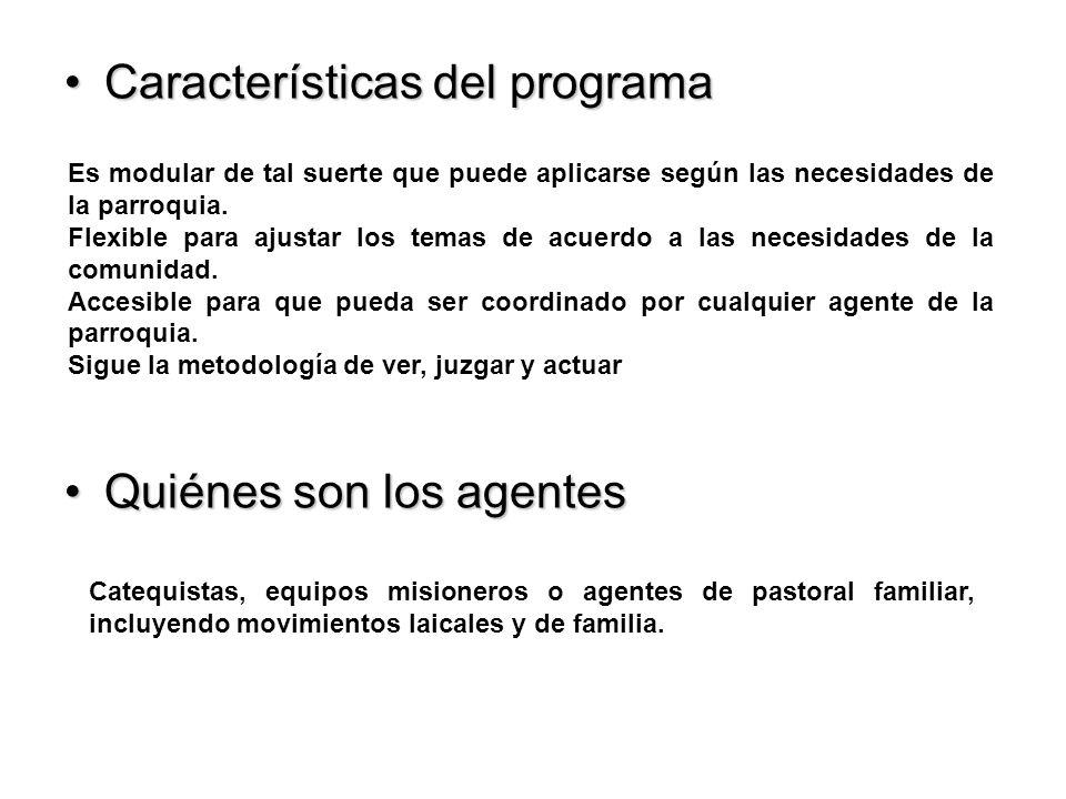 Características del programaCaracterísticas del programa Quiénes son los agentesQuiénes son los agentes Es modular de tal suerte que puede aplicarse según las necesidades de la parroquia.