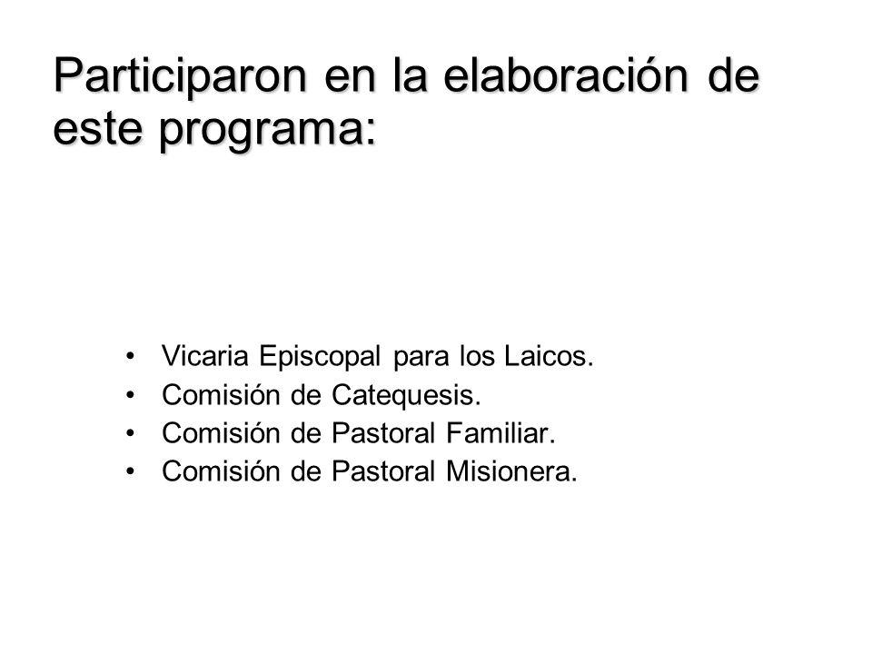 Participaron en la elaboración de este programa: Vicaria Episcopal para los Laicos.