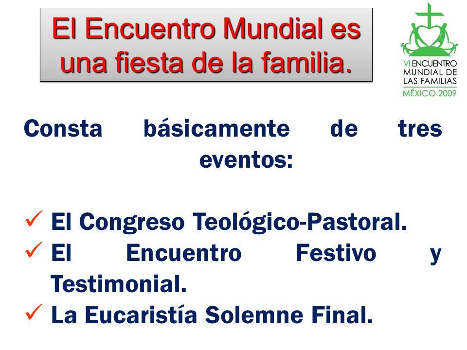 El Encuentro Mundial es una fiesta de la familia. Consta básicamente de tres eventos: El Congreso Teológico-Pastoral. El Encuentro Festivo y Testimoni