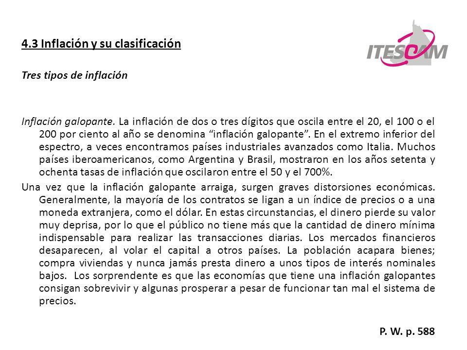 7 4.3 Inflación y su clasificación Tres tipos de inflación Hiperinflación.