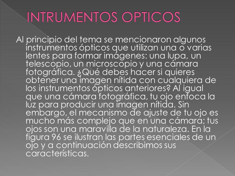 Al principio del tema se mencionaron algunos instrumentos ópticos que utilizan una o varias lentes para formar imágenes: una lupa, un telescopio, un m