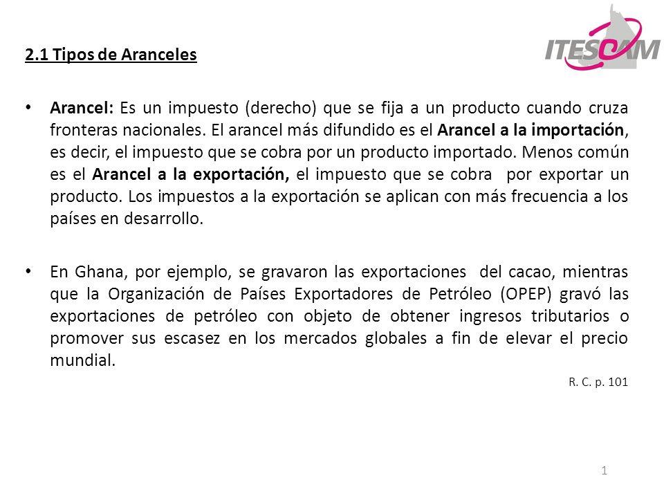 2 2.1 Tipos de Aranceles Países como Estados Unidos, está prohibido imponer aranceles a la exportación.