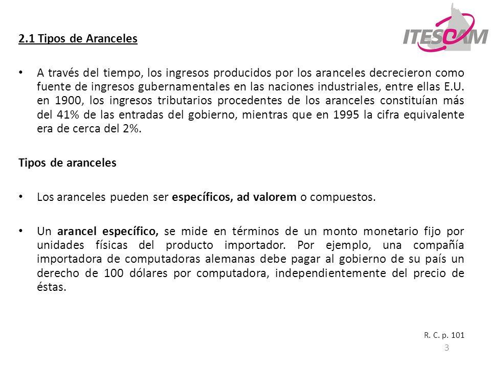4 2.1 Tipos de Aranceles Un arancel ad valorem, se expresa como un porcentaje fijo del valor del producto importado.