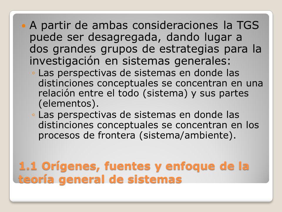 1.1 Orígenes, fuentes y enfoque de la teoría general de sistemas A partir de ambas consideraciones la TGS puede ser desagregada, dando lugar a dos gra