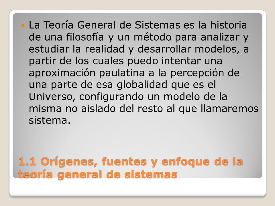 1.1 Orígenes, fuentes y enfoque de la teoría general de sistemas La Teoría General de Sistemas es la historia de una filosofía y un método para analiz