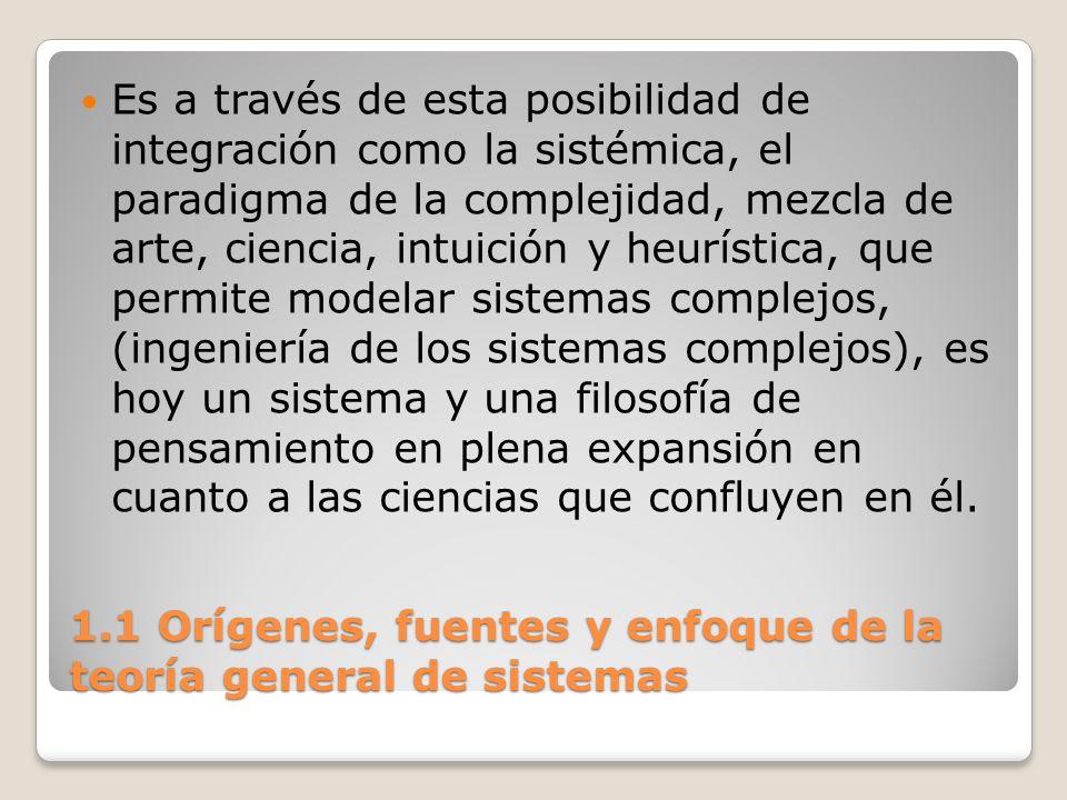 1.1 Orígenes, fuentes y enfoque de la teoría general de sistemas Es a través de esta posibilidad de integración como la sistémica, el paradigma de la