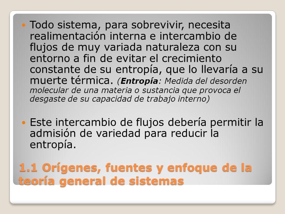 1.1 Orígenes, fuentes y enfoque de la teoría general de sistemas Todo sistema, para sobrevivir, necesita realimentación interna e intercambio de flujo