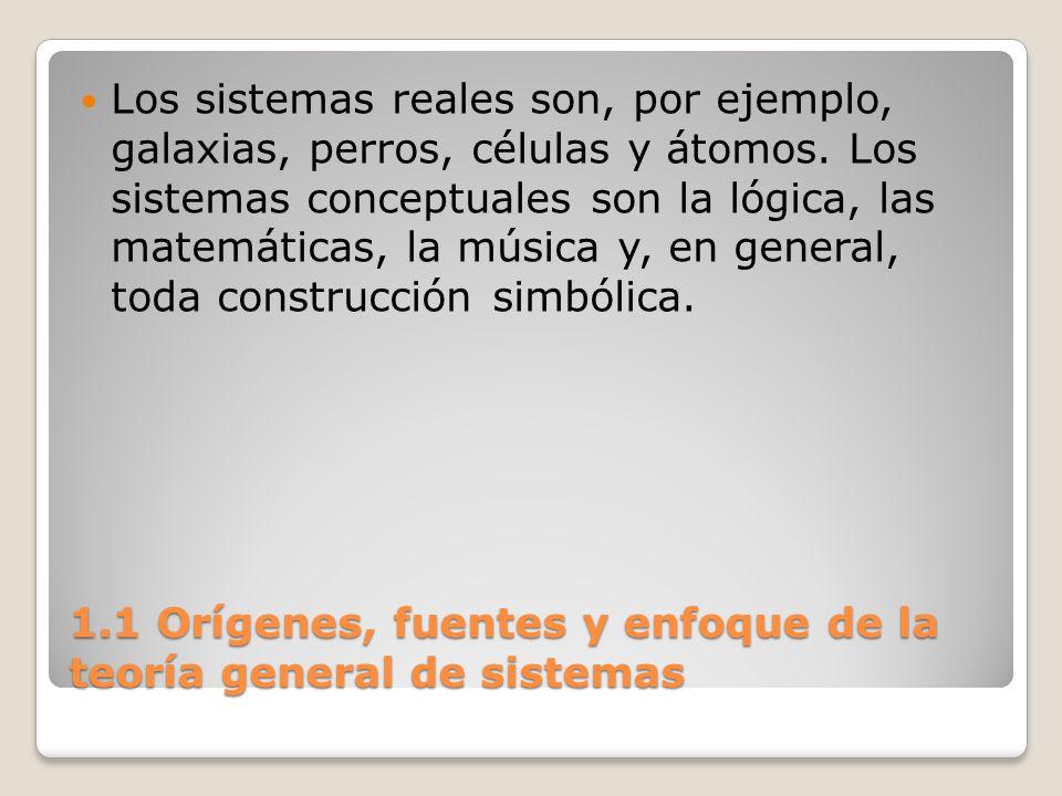 1.1 Orígenes, fuentes y enfoque de la teoría general de sistemas Los sistemas reales son, por ejemplo, galaxias, perros, células y átomos. Los sistema