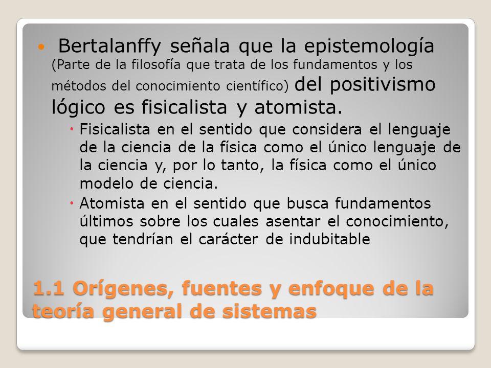 1.1 Orígenes, fuentes y enfoque de la teoría general de sistemas Bertalanffy señala que la epistemología (Parte de la filosofía que trata de los funda