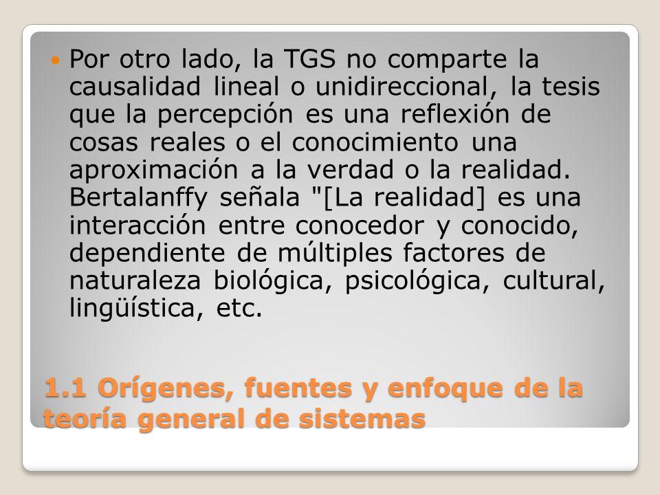1.1 Orígenes, fuentes y enfoque de la teoría general de sistemas Por otro lado, la TGS no comparte la causalidad lineal o unidireccional, la tesis que