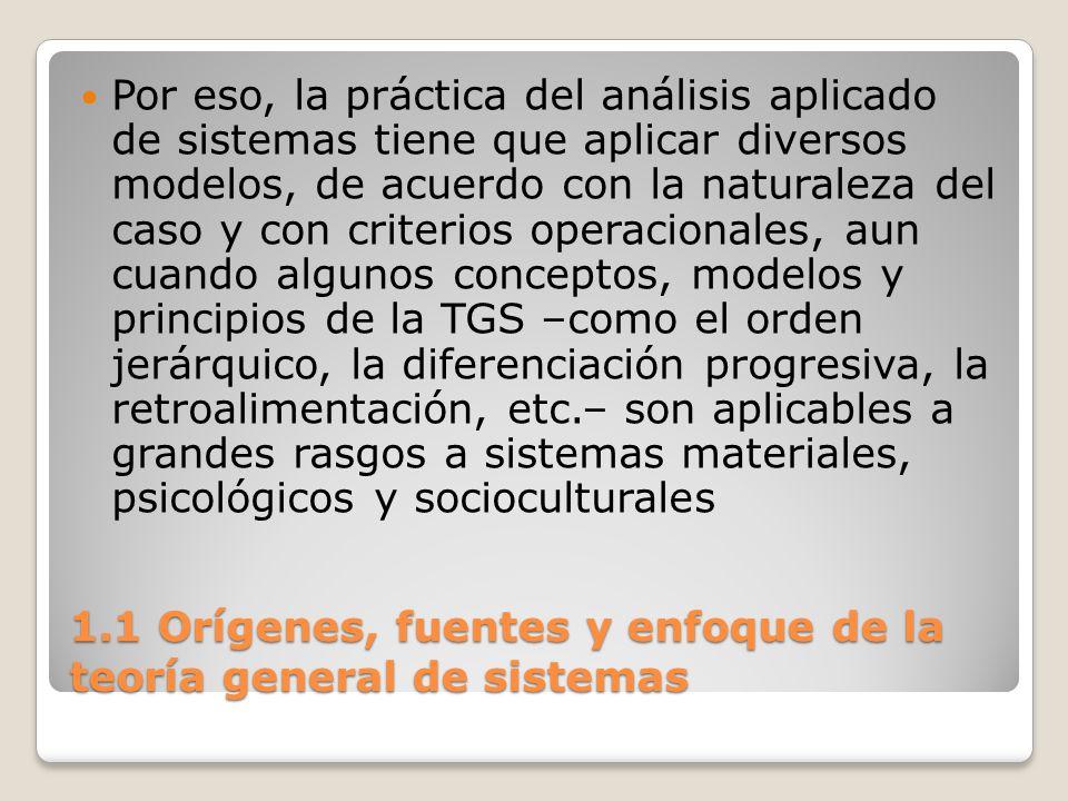 1.1 Orígenes, fuentes y enfoque de la teoría general de sistemas Por eso, la práctica del análisis aplicado de sistemas tiene que aplicar diversos mod