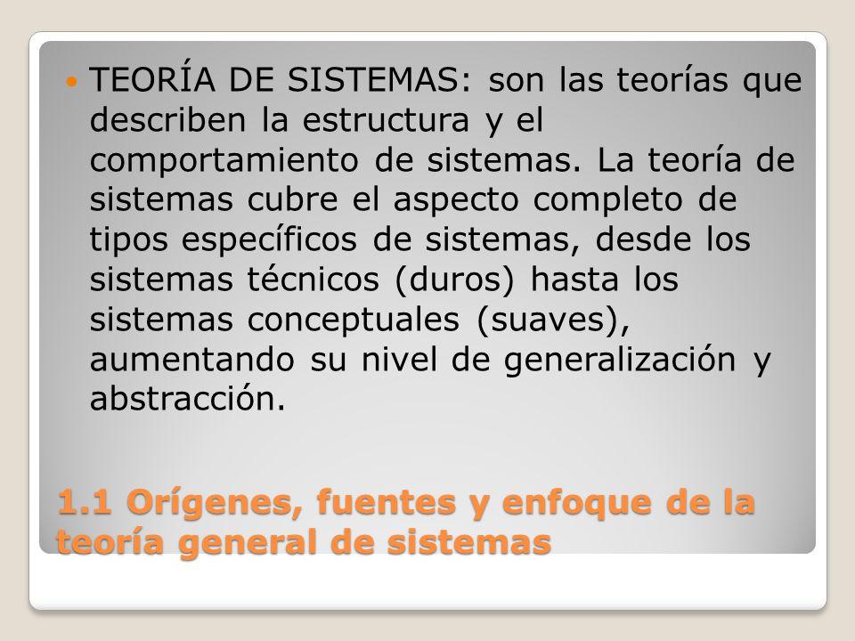 1.1 Orígenes, fuentes y enfoque de la teoría general de sistemas La Teoría General de Sistemas (TGS) ha sido descrita como: - una teoría matemática convencional - un metalenguaje - un modo de pensar - una jerarquía de teorías de sistemas con generalidad creciente