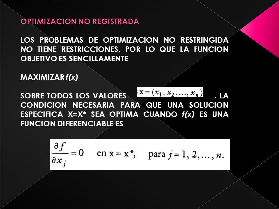 OPTIMIZACION NO REGISTRADA LOS PROBLEMAS DE OPTIMIZACION NO RESTRINGIDA NO T IENE RESTRICCIONES, POR LO QUE LA FUNCION OBJETIVO ES SENCILLAMENTE MAXIMIZAR f(x) SOBRE TODOS LOS VALORES.