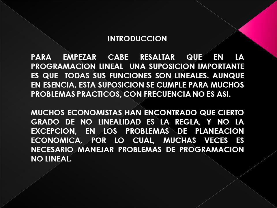 PROGRAMACION CUADRATICA ESTOS TIPOS DE PROBLEMAS TIENEN RESTRICCIONES LINEALES, PERO AHORA LA FUNCION OBJETIVO f(x) D EBE SER CUADRATICA.