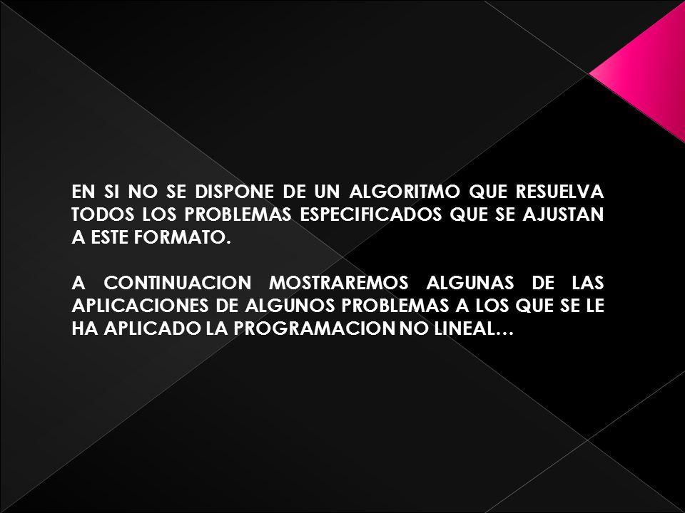 PROGRAMACION CONVEXA ESTA CLASE DE PROGRAMACION ABARCA A UNA AMPLIA CLAS DE PROBLEMAS, ESTAN TODOS LOS TIPOS ANTERIORES CUANDO f(x) E S CONCAVA.