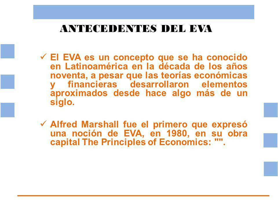 ANTECEDENTES DEL EVA El EVA es un concepto que se ha conocido en Latinoamérica en la década de los años noventa, a pesar que las teorías económicas y financieras desarrollaron elementos aproximados desde hace algo más de un siglo.