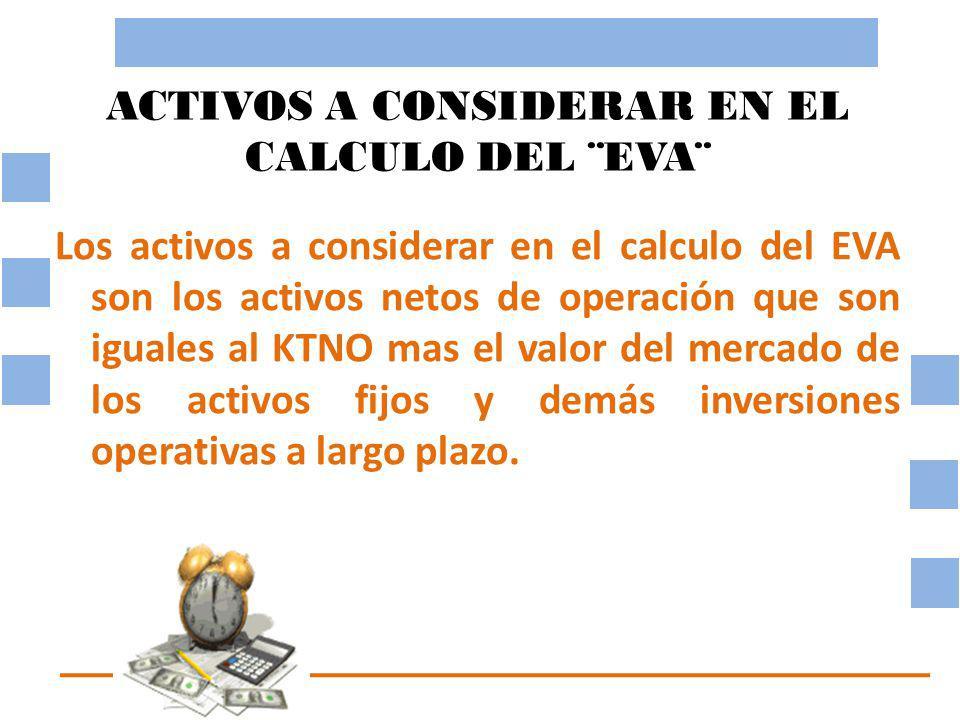 ACTIVOS A CONSIDERAR EN EL CALCULO DEL ¨EVA¨ Los activos a considerar en el calculo del EVA son los activos netos de operación que son iguales al KTNO mas el valor del mercado de los activos fijos y demás inversiones operativas a largo plazo.
