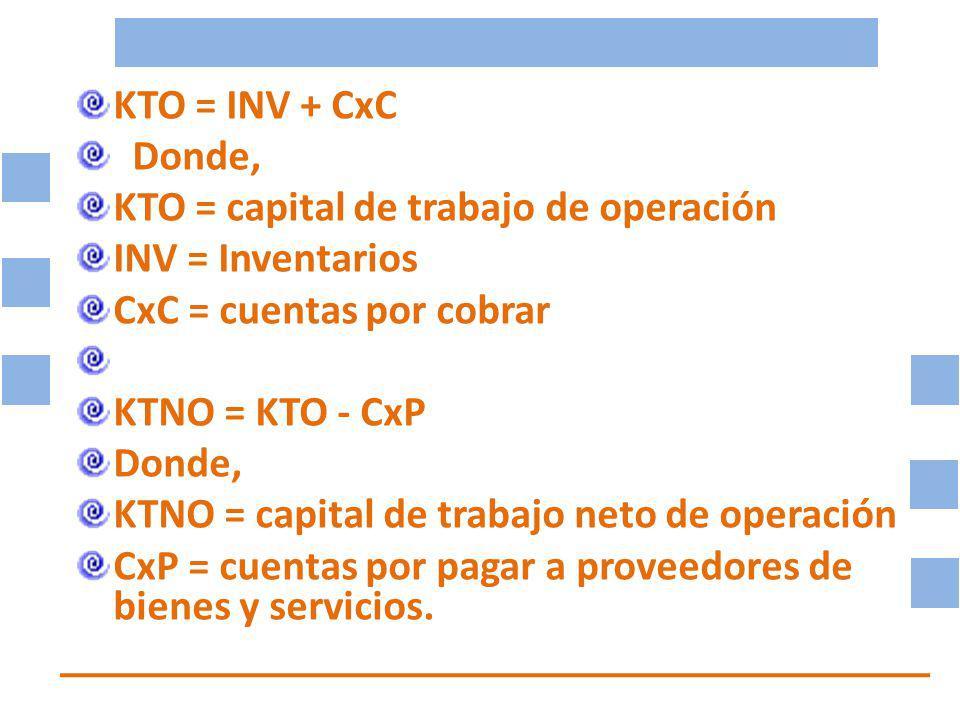 KTO = INV + CxC Donde, KTO = capital de trabajo de operación INV = Inventarios CxC = cuentas por cobrar KTNO = KTO - CxP Donde, KTNO = capital de trabajo neto de operación CxP = cuentas por pagar a proveedores de bienes y servicios.