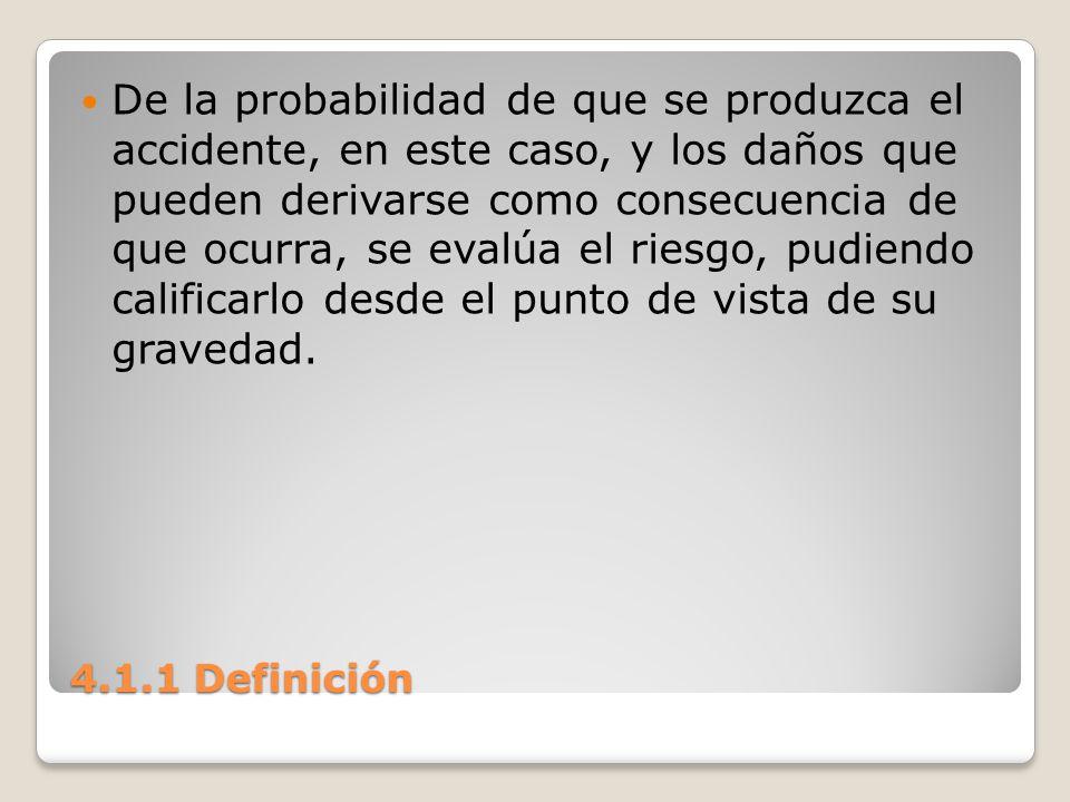4.1.1 Definición De la probabilidad de que se produzca el accidente, en este caso, y los daños que pueden derivarse como consecuencia de que ocurra, s