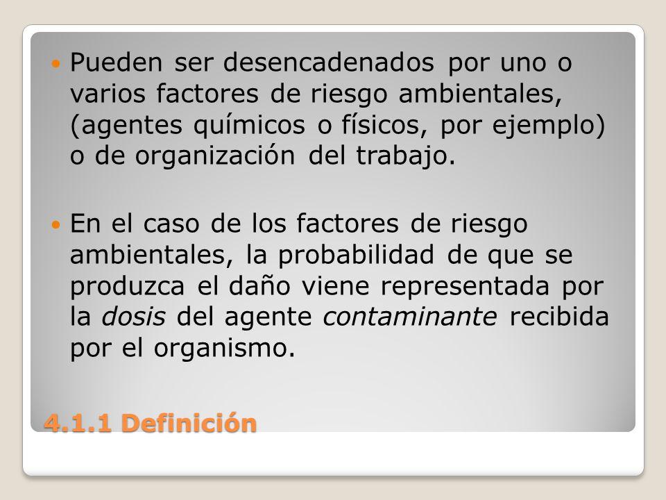 4.1.1 Definición Pueden ser desencadenados por uno o varios factores de riesgo ambientales, (agentes químicos o físicos, por ejemplo) o de organizació