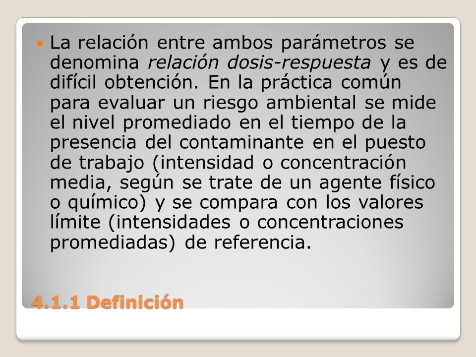 4.1.1 Definición La relación entre ambos parámetros se denomina relación dosis-respuesta y es de difícil obtención. En la práctica común para evaluar