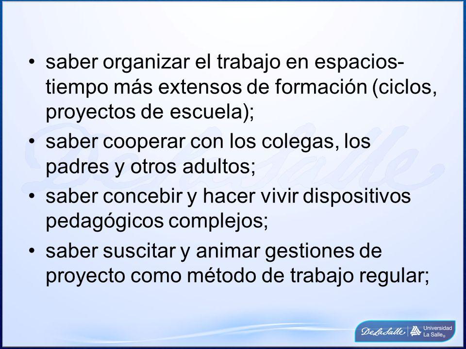 saber organizar el trabajo en espacios- tiempo más extensos de formación (ciclos, proyectos de escuela); saber cooperar con los colegas, los padres y
