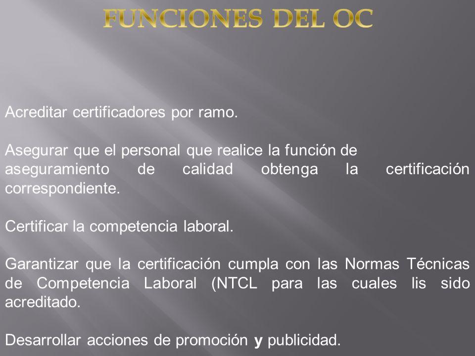 Acreditar certificadores por ramo. Asegurar que el personal que realice la función de aseguramiento de calidad obtenga la certificación correspondient