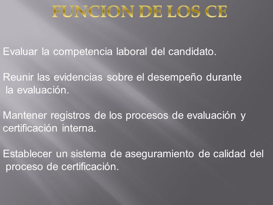 Evaluar la competencia laboral del candidato. Reunir las evidencias sobre el desempeño durante la evaluación. Mantener registros de los procesos de ev