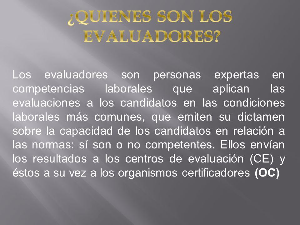 Los evaluadores son personas expertas en competencias laborales que aplican las evaluaciones a los candidatos en las condiciones laborales más comunes
