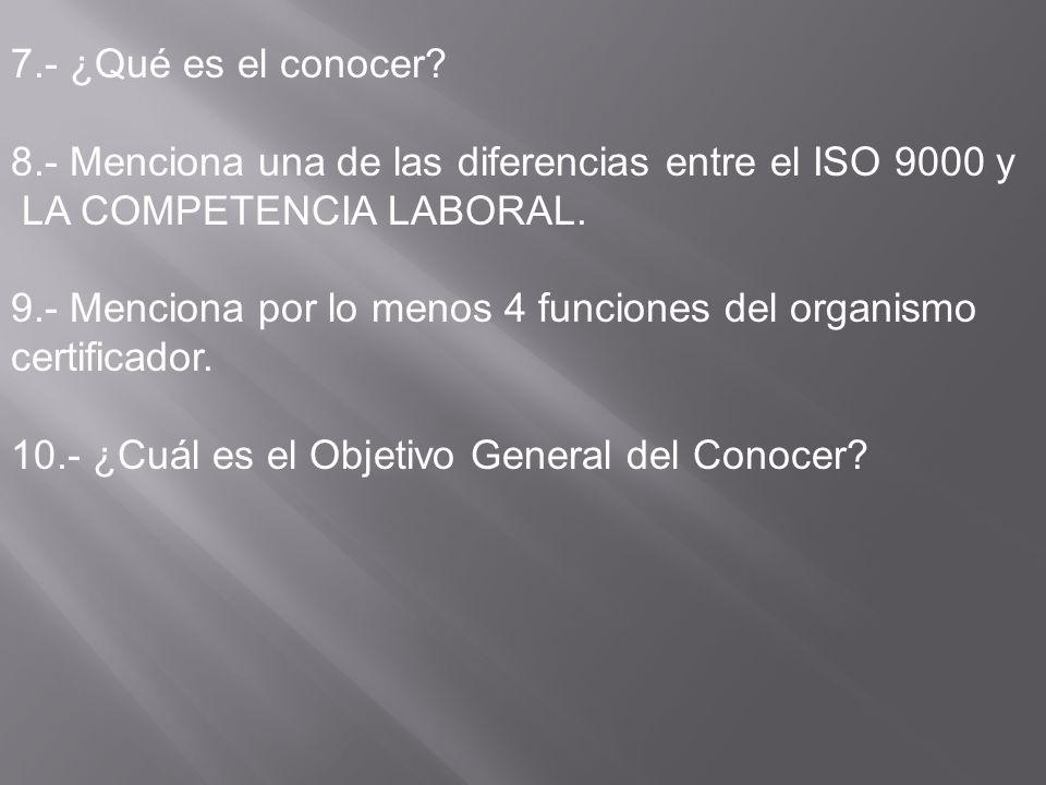 7.- ¿Qué es el conocer? 8.- Menciona una de las diferencias entre el ISO 9000 y LA COMPETENCIA LABORAL. 9.- Menciona por lo menos 4 funciones del orga