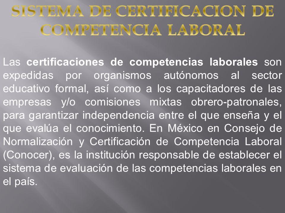 Las certificaciones de competencias laborales son expedidas por organismos autónomos al sector educativo formal, así como a los capacitadores de las e