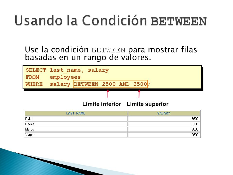 Use la condición BETWEEN para mostrar filas basadas en un rango de valores. SELECT last_name, salary FROM employees WHERE salary BETWEEN 2500 AND 3500