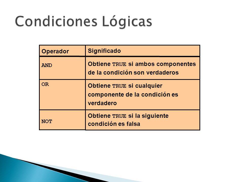 Operador AND OR NOT Significado Obtiene TRUE si ambos componentes de la condición son verdaderos Obtiene TRUE si cualquier componente de la condición es verdadero Obtiene TRUE si la siguiente condición es falsa