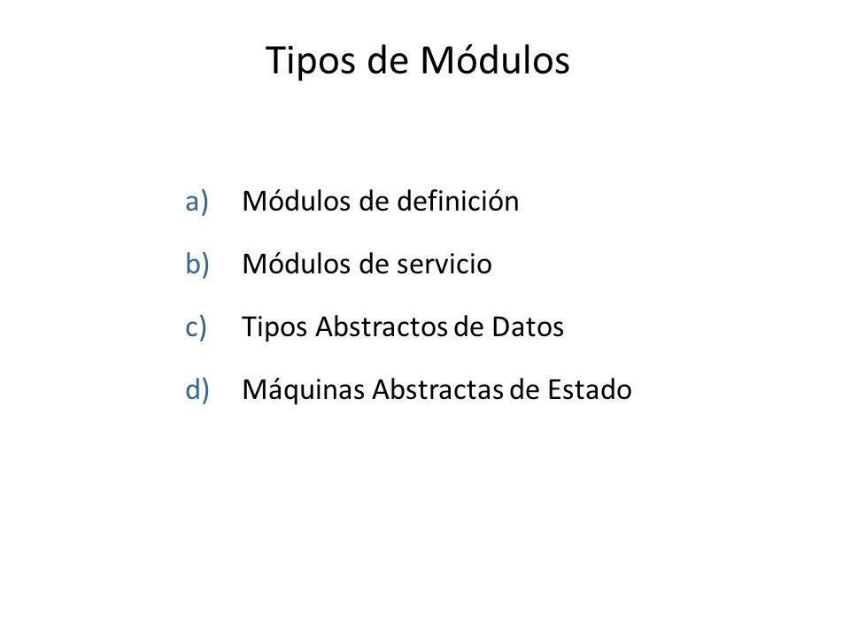Tipos de Módulos a)Módulos de definición b)Módulos de servicio c)Tipos Abstractos de Datos d)Máquinas Abstractas de Estado