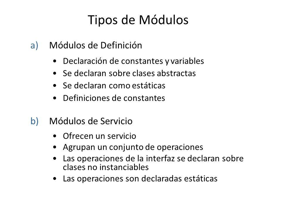 Tipos de Módulos a)Módulos de Definición Declaración de constantes y variables Se declaran sobre clases abstractas Se declaran como estáticas Definiciones de constantes b)Módulos de Servicio Ofrecen un servicio Agrupan un conjunto de operaciones Las operaciones de la interfaz se declaran sobre clases no instanciables Las operaciones son declaradas estáticas