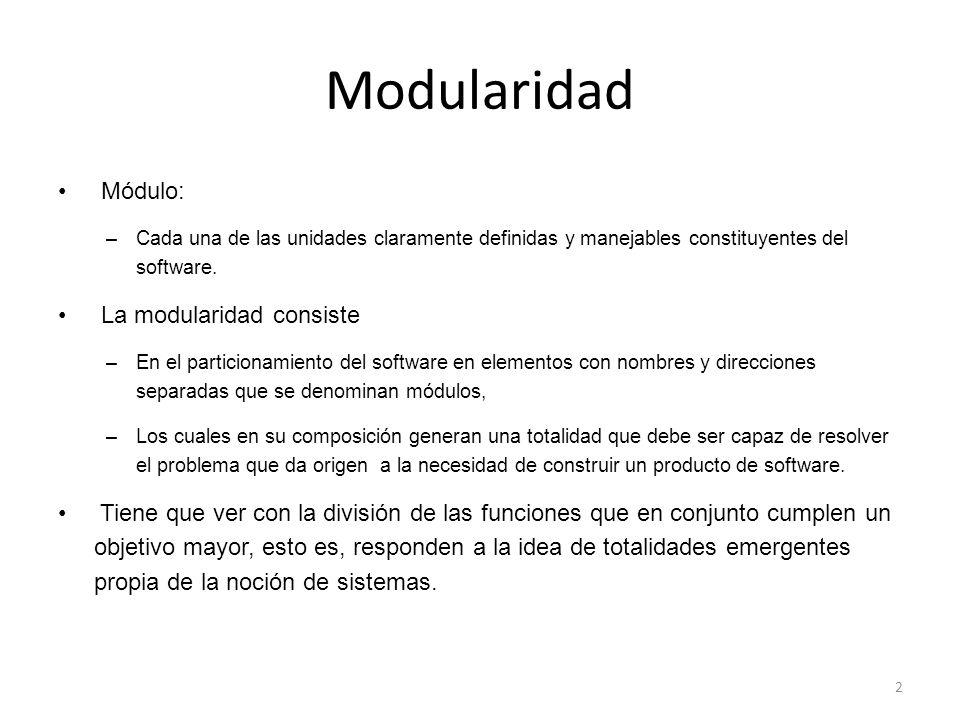 Módulo: –Cada una de las unidades claramente definidas y manejables constituyentes del software.