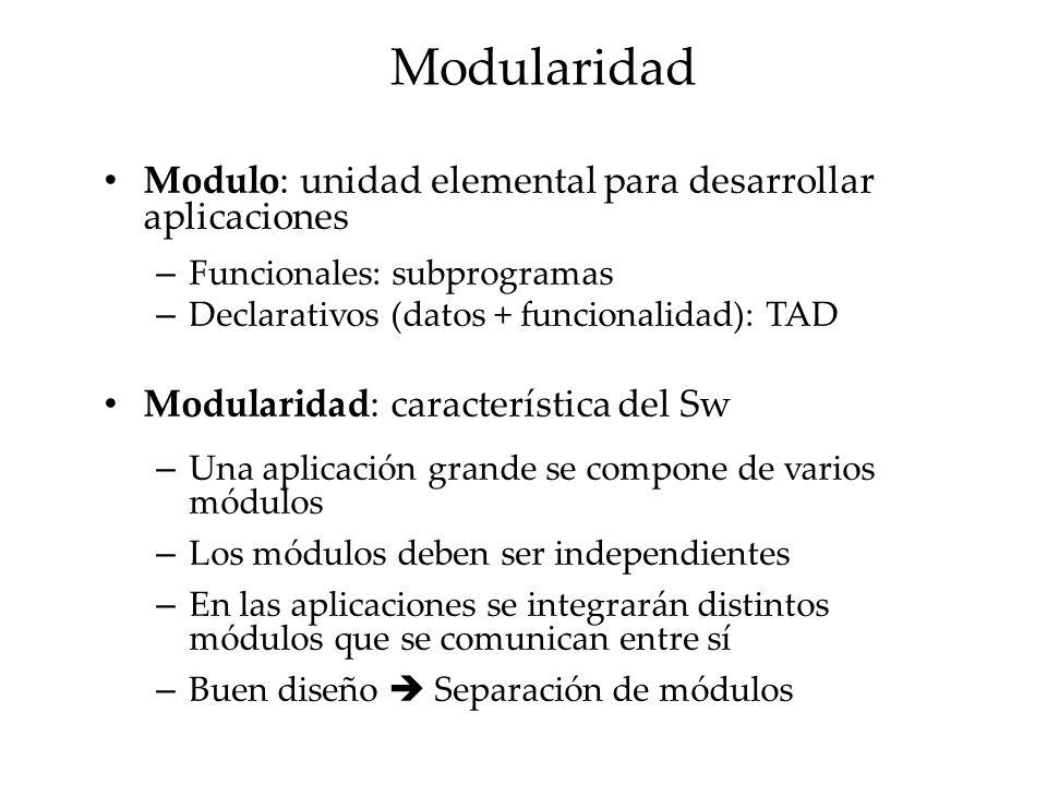 Modularidad Es conveniente separar la especificación del módulo y su implementación – Especificación: declaración del conjunto de operaciones que se exportan (interfaz del módulo) – Implementación: parte del módulo que recoge la estructura de los datos y la implementación de las operaciones.