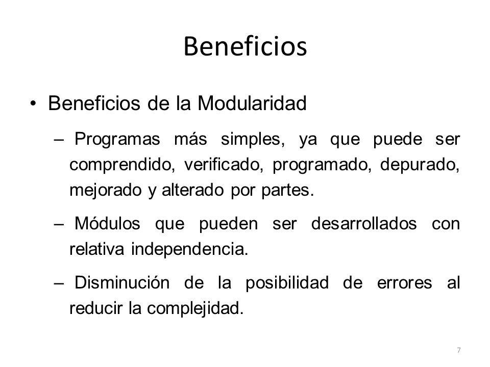 Beneficios Beneficios de la Modularidad – Programas que pueden evaluarse por partes, por lo cual todo test se hace más fácil.