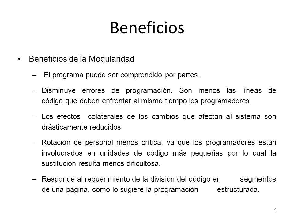 Beneficios Beneficios de la Modularidad – El programa puede ser comprendido por partes.