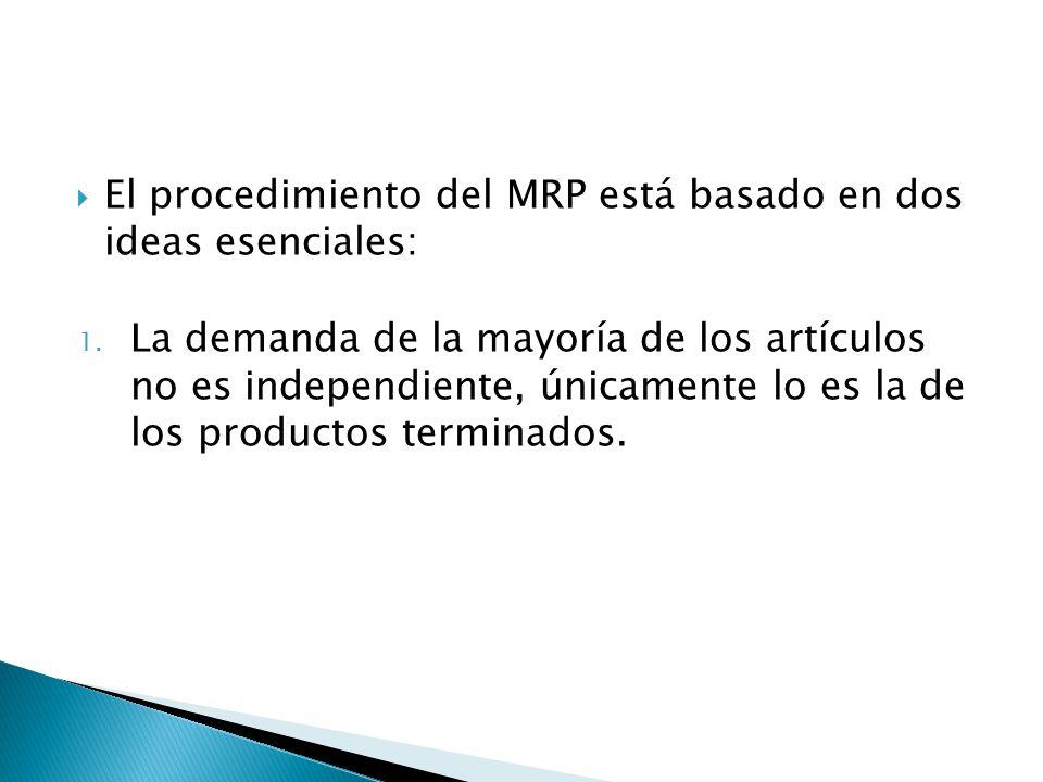 El procedimiento del MRP está basado en dos ideas esenciales: 1. La demanda de la mayoría de los artículos no es independiente, únicamente lo es la de
