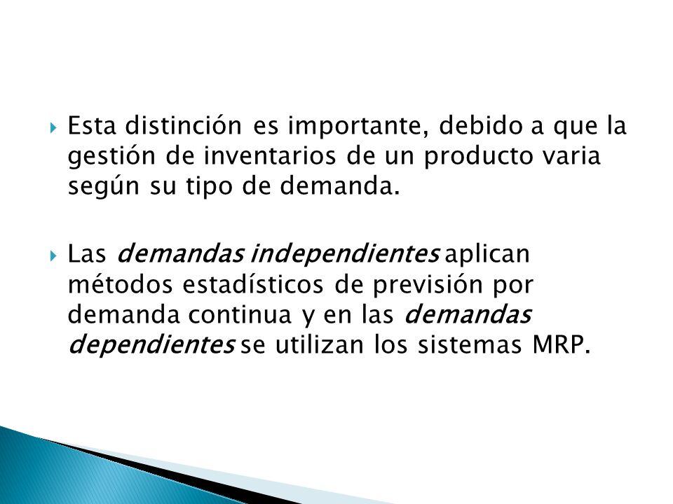 Esta distinción es importante, debido a que la gestión de inventarios de un producto varia según su tipo de demanda. Las demandas independientes aplic