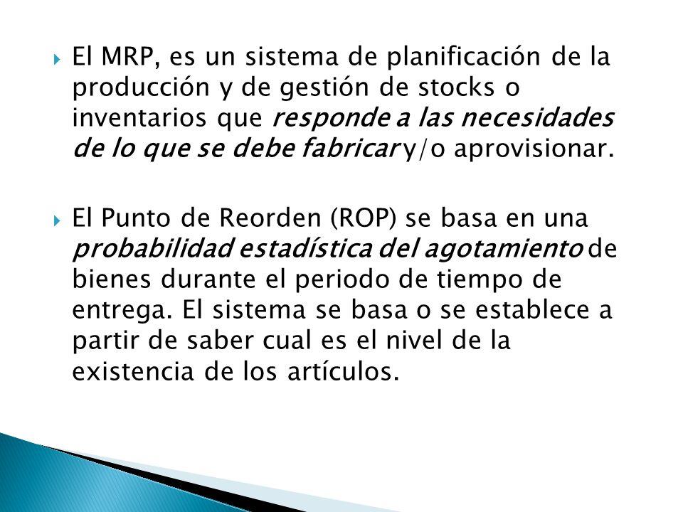 El MRP, es un sistema de planificación de la producción y de gestión de stocks o inventarios que responde a las necesidades de lo que se debe fabricar