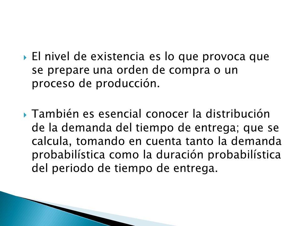 El nivel de existencia es lo que provoca que se prepare una orden de compra o un proceso de producción. También es esencial conocer la distribución de