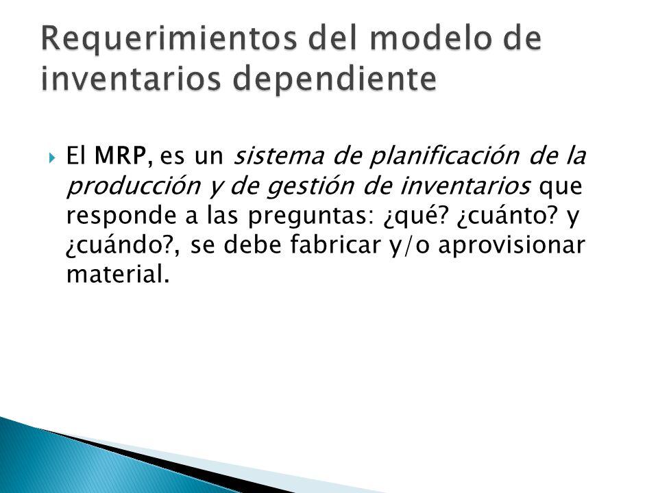 El MRP, es un sistema de planificación de la producción y de gestión de inventarios que responde a las preguntas: ¿qué? ¿cuánto? y ¿cuándo?, se debe f