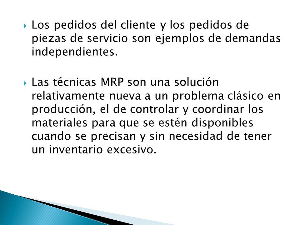 Los pedidos del cliente y los pedidos de piezas de servicio son ejemplos de demandas independientes. Las técnicas MRP son una solución relativamente n